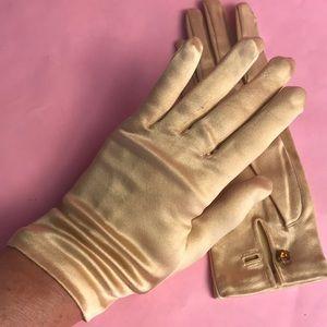 Vintage gold satin stretchy gloves
